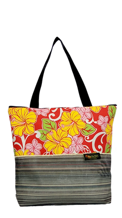 Maui Nui Wear Eco-Friendly XL Mesh Tote Bag Floral `Ula`Ula