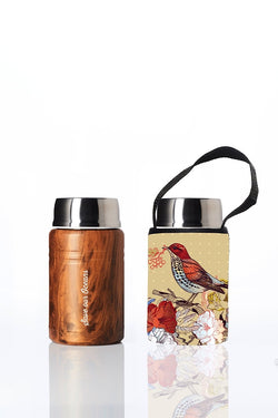 Foodie - insulated lunch container + carry cover - stainless steel - 500 ml - Bird print
