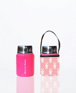 * Daily Deal - Foodie - insulated lunch container + carry cover - stainless steel - 500 ml - Rabbit print