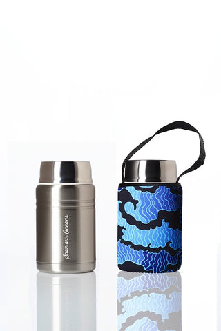 Foodie - insulated lunch container + carry cover - stainless steel - 500 ml - Tsumi print