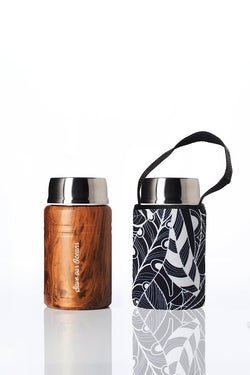 Foodie - insulated lunch container + carry cover - stainless steel - 500 ml -  Feather print