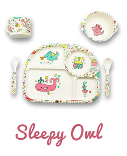 Bambu - 5 piece mealtime set - Sleepy Owl