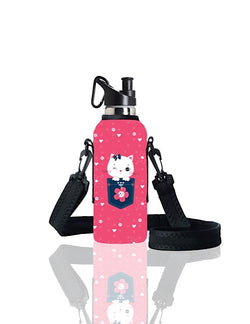 TRVLR by BBBYO carry cover for sippy bottle - with shoulder strap - 500 ml - Kitty print