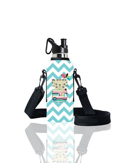 TRVLR by BBBYO carry cover for sippy bottle - with shoulder strap - 500 ml - Puss Puss print