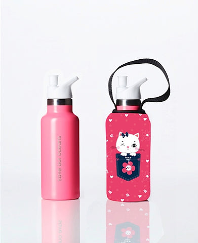 Sippy BBBYO Kids Traveller + carry cover - stainless steel - insulated -  500 ml - Kitty print