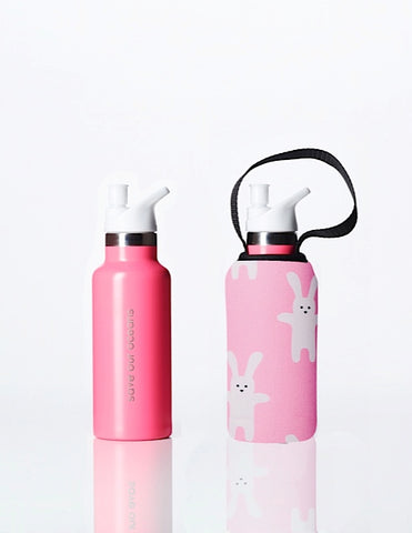 Sippy BBBYO Kids Traveller + carry cover - stainless steel - insulated -  500 ml - Rabbit print