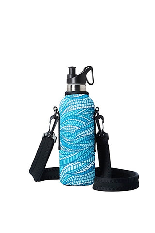 TRVLR by BBBYO carry cover for sippy bottle - with shoulder strap - 500 ml - Sealeaf print