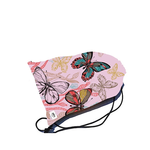 Swimbag - drawstring - Pink butterfly