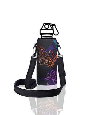 UNI TRVLR by BBBYO carry cover for Most Bottles - with shoulder strap - 500 ml/600 ml - Butterfly print