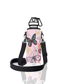 UNI TRVLR by BBBYO carry cover for Most Bottles - with shoulder strap - 500 ml/600 ml - Pink Butterfly print