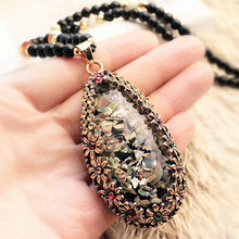 Big Drop Long Sweater Chain All-match Decorative Crystal Necklace Cat's Eye