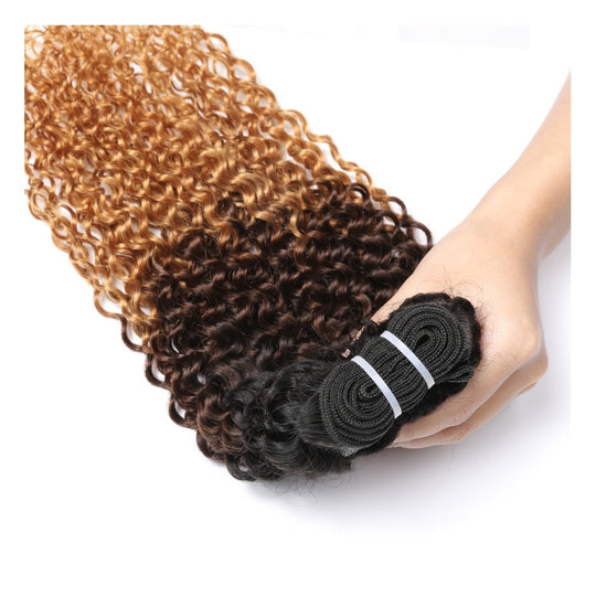 Spark 3 Tone Ombre Brazilian non Remy Hair T1B/4/27 Kinky Curly Weave Human Hair Extensions Can-WeaveKINGDOM.com