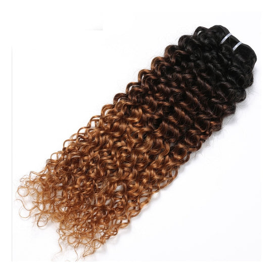 3 Tone Ombre Brazilian Hair Bundles Kinky Curly Weave Human Hair Extensions 12-26inche T1B/4/30-WeaveKINGDOM.com