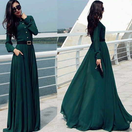 Women Prom Ball Cocktail Party Dress Formal Gown Long Dress Green With Belt-WeaveKINGDOM.com