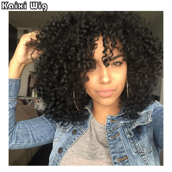 "18"" Afro Kinky Curly Wigs Short Synthetic Wigs For Black Women African American Short Wigs Cheap Wigs For Women Perruque Perucas - WeaveKINGDOM.COM"