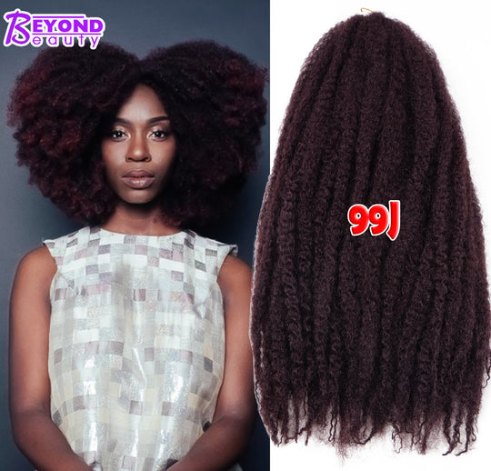 18Inch Synthetic Marley Braids Hair Cheap Fluffy Marley Hair Crochet Braids Ombre Jumbo Afro Kinky Curly Synthetic Braiding Hair - WeaveKINGDOM.COM
