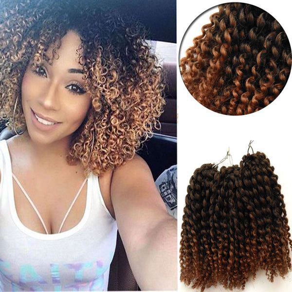 Curly Crochet Braids Hair 8inch Water Wave Mali Bob Crochet Braiding Hair 3Pcs/set Kinky Curl-WeaveKINGDOM.com