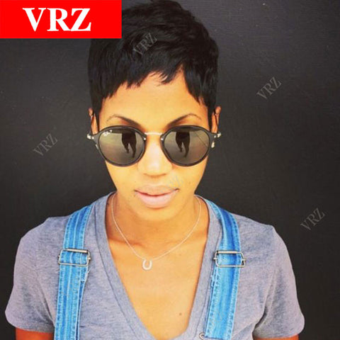 Cheap Machine Made Short Pixie Wig Human Hair Wigs With Baby Hair Human Hair Bob Wigs For Black-WeaveKINGDOM.com