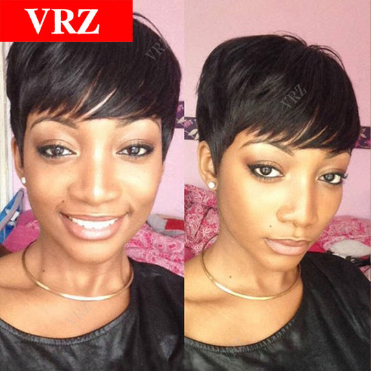 Brazilian Short Human Hair Wigs With Baby Hair Straight Pixie Machine Made Hair Wigs For Black-WeaveKINGDOM.com