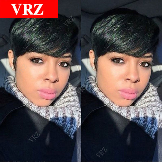 Pixie Very Short Synthetic Hair Wigs Brazilian Hair Chic Cut Natural Black Hair Wigs Glueless-WeaveKINGDOM.com