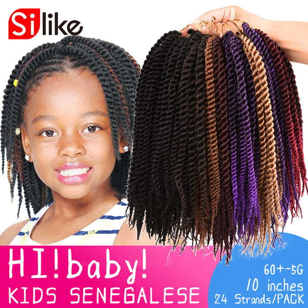 24 Roots New Micro Crochet Braid Hair Extensions 10'' Kids Crochet Braids Hair Senegalese Twist-WeaveKINGDOM.com