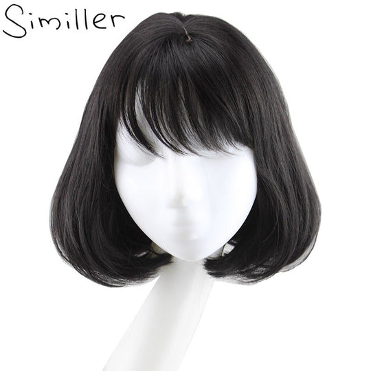 Similler Women Synthetic Bob Wig With Flat Bangs Black Brown Short Curly Hair Cosplay-WeaveKINGDOM.com