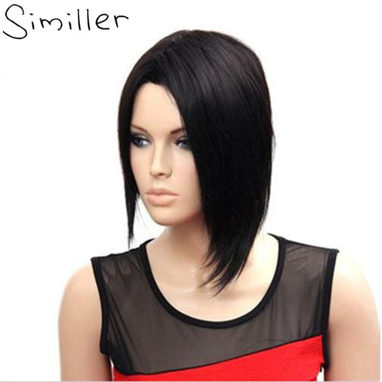Similler Synthetic Hair Short Bob Asymmetry Natural Black Centre Parting Head Women Wig For Mothers'-WeaveKINGDOM.com