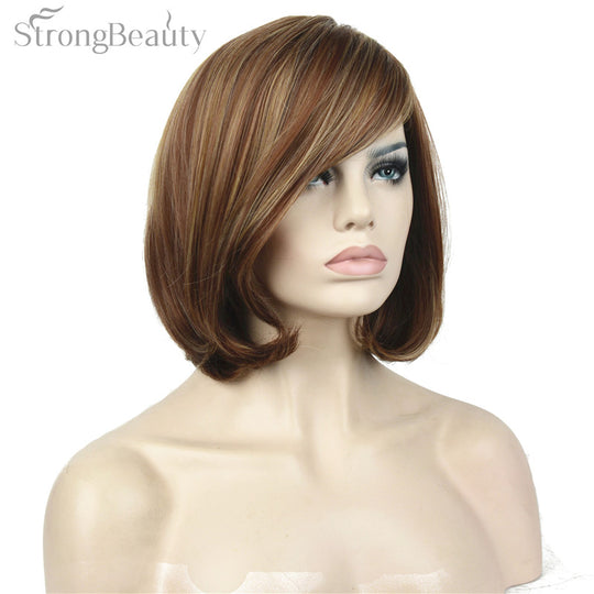 Strong Beauty Synthetic Natural Short Wave Wigs Brown Blond MixShort BOB Wig Full Capless Women Hair-WeaveKINGDOM.com