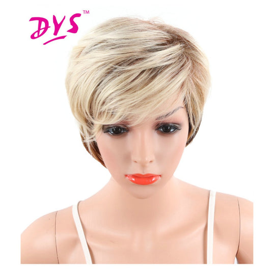 Deyngs Ombre Short Big Wavy Synthetic Wig For Black Women Blonde To Black Color Natural Hair With-WeaveKINGDOM.com