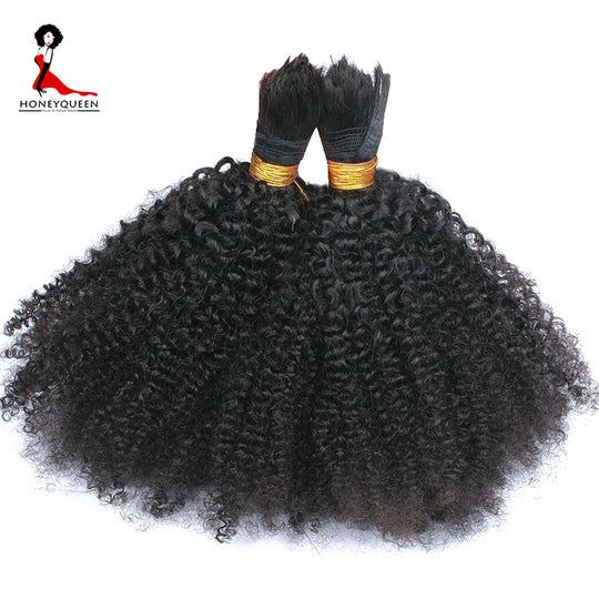 Human Braiding Hair Bulk No Weft Afro Kinky Curly Bulk Hair For Braiding Mongolian Remy Hair Crochet-WeaveKINGDOM.com