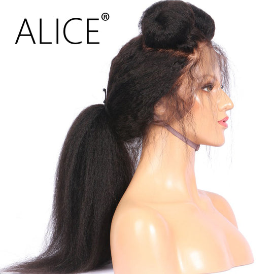 ALICE Kinky Straight Glueless Full Lace Human Hair Wigs Pre Plucked 130 Density 8-24 Inch Remy-WeaveKINGDOM.com