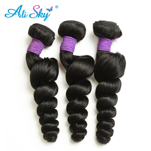 Ali Sky Brazilian Remy Hair Loose Wave Bundles Natural Black 1B# 1pc Human Hair Weaving Natural Hair-WeaveKINGDOM.com