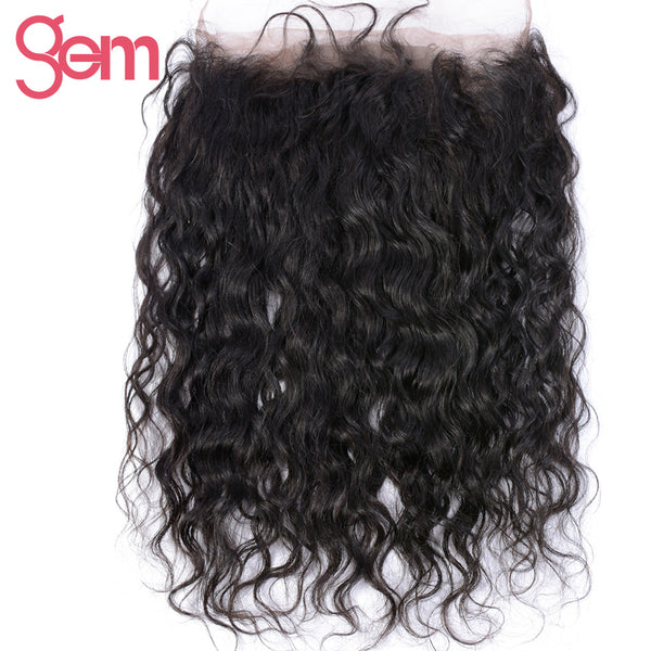 GEM BEAUTY Hair Water Wave 360 Full Lace Frontal Closure With Baby Hair Brazilian Human Hair Closure - WeaveKINGDOM.COM