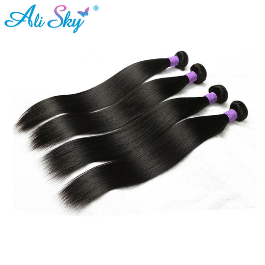 "Ali Sky Hair Vendor Straight Brazilian Hair Weave Bundles Remy Human Hair 8""-26"" Double Weft Hair-WeaveKINGDOM.com"