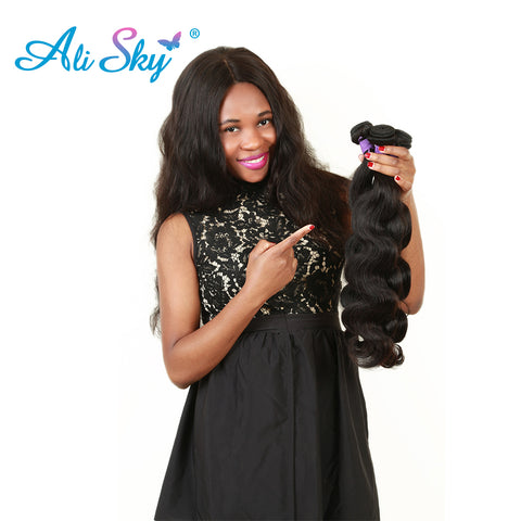 [Ali Sky]Brazilian Body Wave Remy Hair Bundles 100% Human Hair Weaving double weft Natural Black-WeaveKINGDOM.com