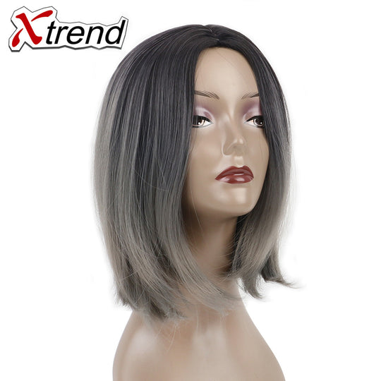 Xtrend 10'' Ombre Short Bob Hair Wigs Synthetic None Lace Wig Adjustable High Temperature Fiber-WeaveKINGDOM.com