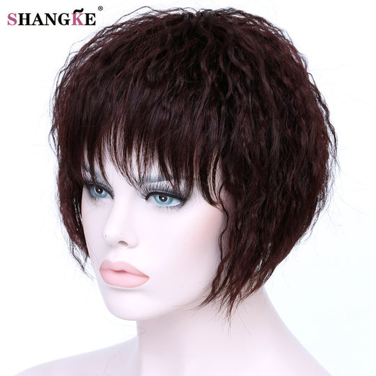 SHANGKE Short Brown Kinky Curly Hair Wigs Women Heat Resistant Synthetic Hairpieces African American-WeaveKINGDOM.com