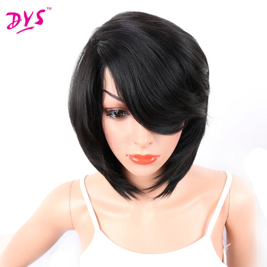 Deyngs 14in Short Pixie Cut Synthetic Wigs For Black African American Women Natural Bob Wigs with-WeaveKINGDOM.com