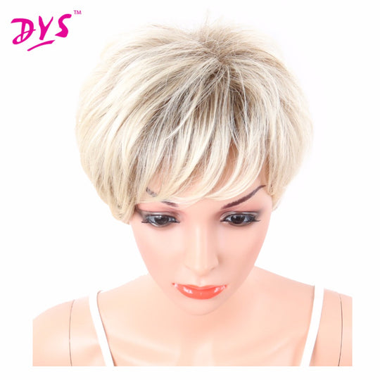 Deyngs Short Layered Blonde/Brown Full Synthetic Wigs for African American Kanekalon Women's Wigs-WeaveKINGDOM.com
