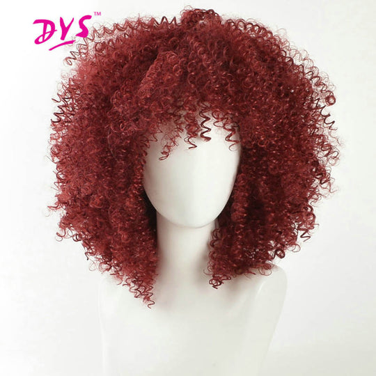 Deyngs Short Pixie Cut Afro Kinky Curly Synthetic Wigs With Bangs For Black Women Natural-WeaveKINGDOM.com