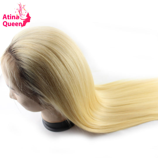 Atina Queen Straight 1b 613 Glueless Full Lace Wigs Remy Human Hair with Baby Hair Ombre 4 613-WeaveKINGDOM.com