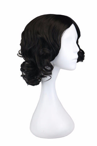 QQXCAIW Women Girls Short Culry Cosplay Cos Holiday Black 35 Cm Synthetic Hair Wigs-WeaveKINGDOM.com