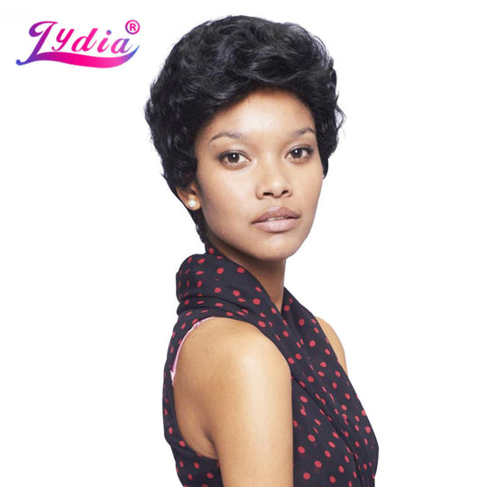 Lydia Synthetic Wigs For Black Women Pure Color 1B Short Curly Wig 100% Kanekalon Synthetic-WeaveKINGDOM.com