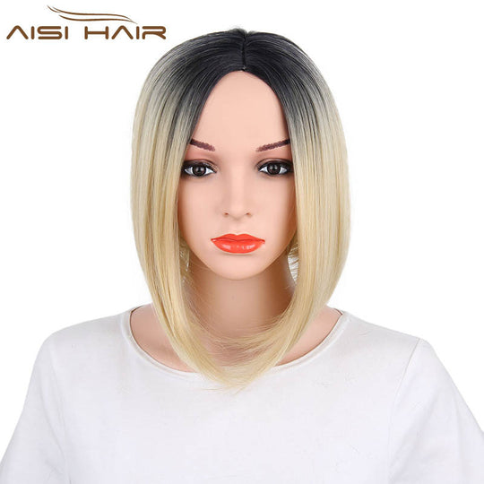 I's a wig Bob Style Straight Ombre Synthetic Wigs for Women Dark and Gold Color None Lace Wig-WeaveKINGDOM.com