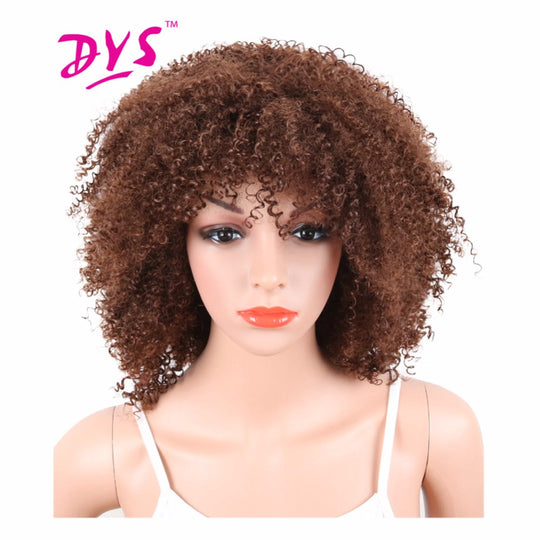 Afro Kinky Curly Short Synthetic Wigs With Bangs For Black Women Naturally Brown Color African-WeaveKINGDOM.com