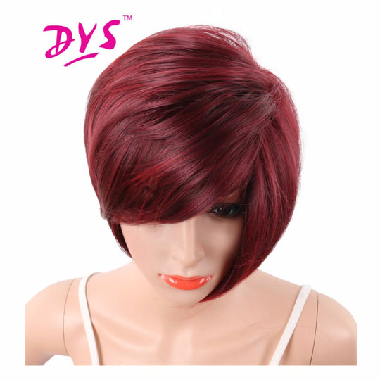 Deyngs Wine Red Short Pixie Cut Synthetic Wigs For Black Women With Side Bangs Natural Straight Heat-WeaveKINGDOM.com