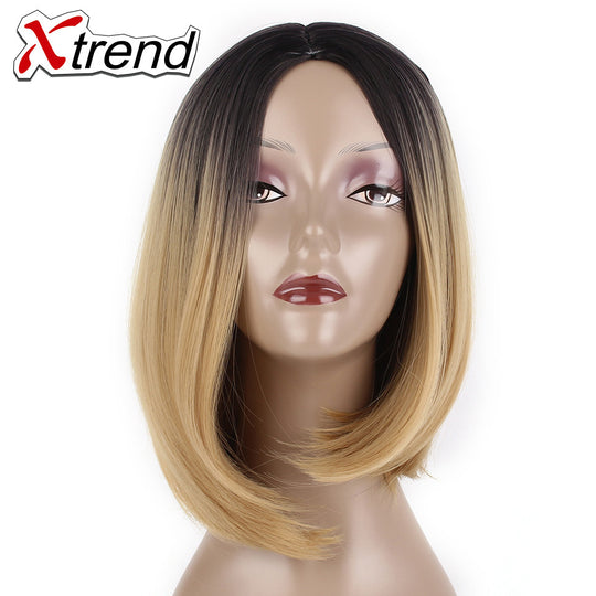 Xtrend Ombre Black Brown Bob Wigs 10'' 200g Short Synthetic Kanekalon Straight Hair None Lace Wig-WeaveKINGDOM.com