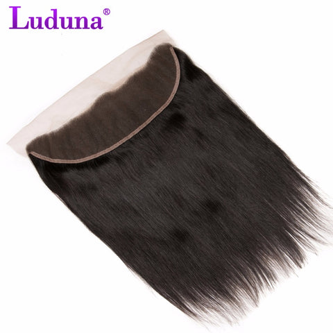 Luduna Peruvian Straight Hair Lace Frontal Closure 13x4 Ear To Ear With Baby Hair 100% Non-remy-WeaveKINGDOM.com