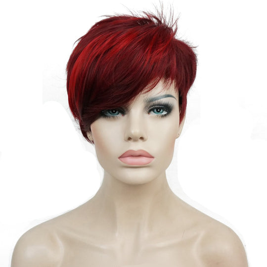 Women's Short Straight Bob wig Deep wine Burgundy Mix Natural Synthetic Full Wigs-WeaveKINGDOM.com