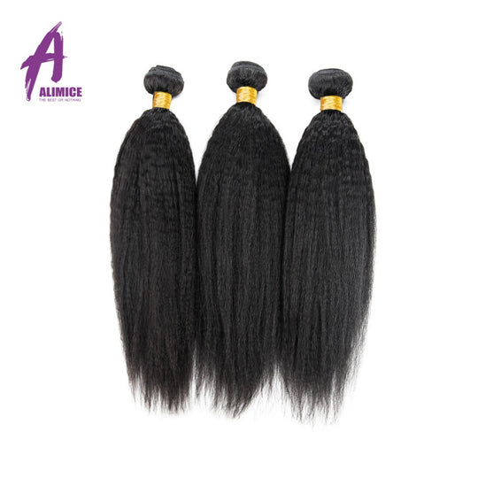 Kinky Straight Brazilian Hair Alimice Hair Non-Remy Human Hair Weave Bundles Natural Color 10-26inch-WeaveKINGDOM.com